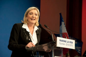 Marine Le Pen, who finished in third position at the French Presidential Election, gives a speech after the election results in Paris, April 22, 2012.  (Rémi Noyon via CC)