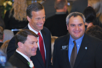 From left to right, former South Dakota Gov. Mike Rounds, U.S. Sen. John Thune (R-S.D.) and State Sen. Dan Lederman chat in the South Dakota State Capitol at the launch of the legislature's most recent session, Jan. 8 2011. Lederman is one of three Jewish lawmakers in the state.  (Dan Lederman)