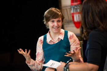 "Lena Dunham, shown speaking in October 2012 at the Fortune Most Powerful Women Summit in Washington, in her acceptance speech at the Golden Globes said ""Girls"" had ""made a space for me.""  (Krista Kennell/ Fortune Most Powerful Women Summit)"