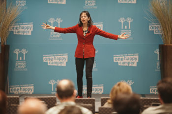 Lenore Skenazy, addressing the Foundation for Jewish Camp's recent Leaders Assembly, argues that summer camp is an antidote to helicopter parenting. (Foundation for Jewish Camp)