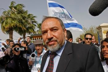 The rise of Yisrael Beiteinu's Avigdor Lieberman, seen here on Election Day, is  seen in Israel as a sign of the rightward swing of the Israeli electorate. (Brian Hendler)