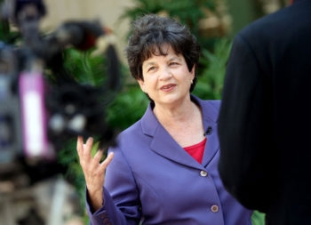 Lois Frankel addressing a news press conference just weeks after announcing her bid for Congress in Florida's 22nd District, April 25, 2011. (Courtesy Emily's List)