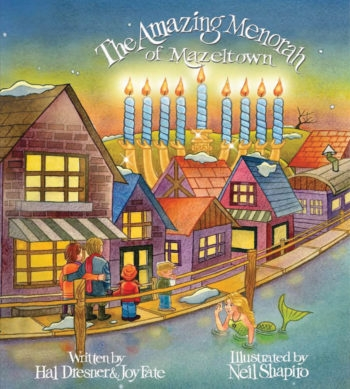 """Two kids discover the power of the menorah in """"The Amazing Menorah of Mazeltown,"""" among the crop of new Chanukah books for children this year. (Red Rock Press)"""
