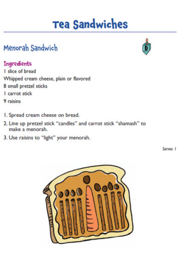 """A Menorah Sandwich recipe from the book """"Maccabee Meals"""" by Judye Groner and Madeline Wikler, illustrated by Ursula Roma.  (Kar-Ben Publishing, a division of Lerner Publishing Group)"""