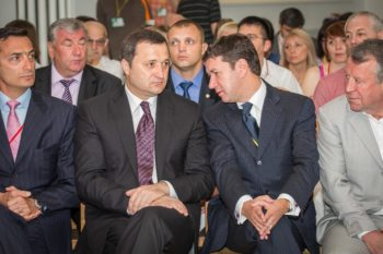 Moldovan Prime Minister Vlad Filat, second from left, attending the opening ceremony of the first Limmud FSU conference in Moldova with, left to right, Mathew Bronfman, and Jewish community co-chairs Alexander Bilinkis and Alexander Pinchevsky. (Niv Shimshon/ Limmud FSU)