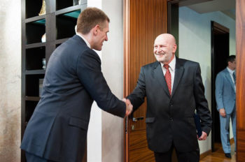 Yasha Alfandri, right, the president of the Montenegro Jewish Community, meeting with Montenegro Prime Minister Igor Luksic in Podgorica, May 30, 2012. (Government of Montenegro)