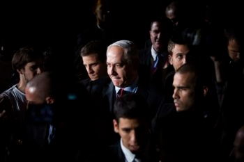 Israeli Prime Minister Benjamin Netanyahu, shwon attending an event at the International Conference Center in Jerusalem on Jan. 7, 2013, must draw voters even as most Israelis expect a victory by his Likud-Beiteinu slate.  (Yonatan Sindel/Flash90)
