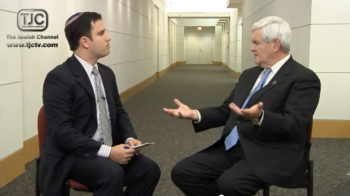 Steven I. Weiss interview with Republican primary candidate Newt Gingrich on The Jewish Channel stirred a media buzz and some criticism from GOP rivals over Gingrich's remarks, Dec. 9, 2011. (The Jewish Channel)