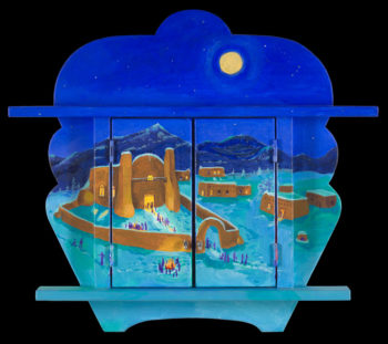 A Nicho by Anita Rodriguez with the doors closed, showing a Christmas scene.  (Anita Rodriguez)