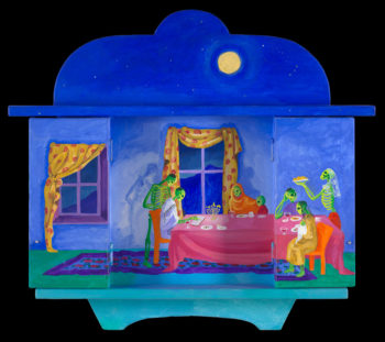 A Nicho by Anita Rodriguez with the doors open, showing a Chanukah scene.  (Courtesy Anita Rodriguez)