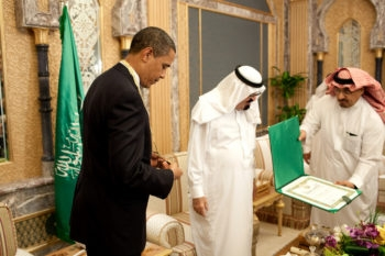 President Obama receives the King Abdul Aziz Order of Merit from Saudi King Abdullah bin Abdul Aziz in Riyadh, Saudi Arabia, June 3, 2009. (Official White House photo by Pete Souza)