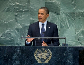 U.S. President Barack Obama addressing the U.N. General Assembly, Sept. 25, 2012.  (UN Photo/Marco Castro)