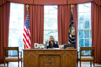 President Barack Obama talks on the phone with Prime Minister Benjamin Netanyahu of Israel, in the Oval Office, Sept. 28, 2012.    (Official White House Photo by Pete Souza)