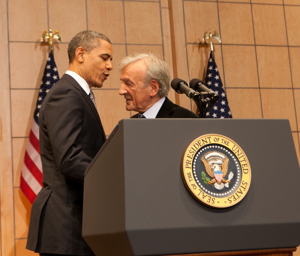 President Obama embraces Elie Wiesel before delivering a speech about the Holocaust and its meaning at the U.S. Holocaust Memorial Museum, April 23 2012. (Courtesy USHMM)