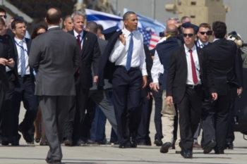 President Obama walking on the Ben Gurion International Airport tarmac, March 20, 2013. (Uriel Sinai/Getty)