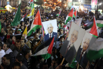 Palestinians celebrating in the West Bank city of Ramallah after the U.N. General Assembly voted to recognize Palestine as a non-member state, Nov. 29, 2012. (Issam Rimawi/Flash90)