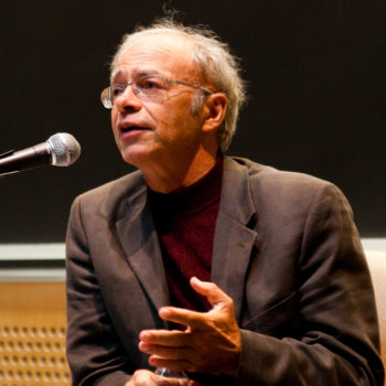 Peter Singer speaking at a Veritas Forum event on the Massachusetts Institute of Technology campus, March 2009.  (Joel Travis Sage via CC)