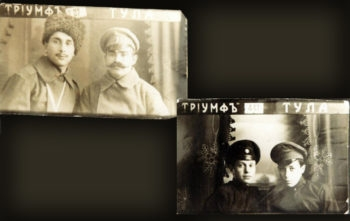 "Naomi Bloch believes the photos seen here may show some members of the Rosenberg branch of her family. The writing at the top right reads ""Tula,"" where Rosenbergs lived; ""triumph"" appears on the left.    (Courtesy Naomi Bloch)"