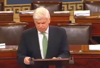U.S. Sen. Chris Dodd, chairman of the Senate Banking Committee, announces on Sept. 29, 2009 that he is working on a bill to expand the president's ability to sanction Iran. (The Office of Senator Chris Dodd)
