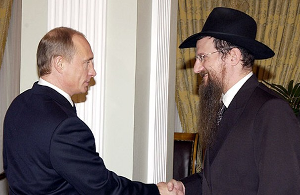 Russian President Vladimir Putin, left, meeting with the Chief Rabbi of Russia Berel Lazar, March 2005.  (Kremlin)