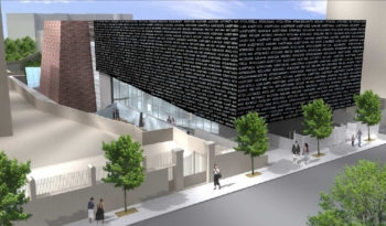 The design of Italy's Holocaust museum in Rome will feature a huge flattened black cube bearing the names of Italian victims. (Courtesy Rome City government)