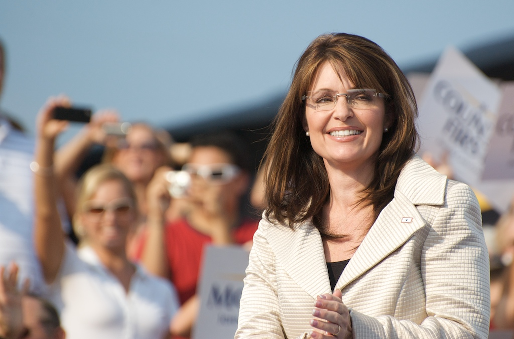 "Sarah Palin, seen at an August 2008 campaign rally in Missouri, said in an interview that Jewish settlements in Israel ""should be allowed to be expanded upon."" (geerlingguy / Creative Commons)"