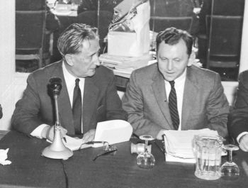 Saul Kagan, founding executive director of the Claims Conference, right, talking to Nahum Goldmann, founder and longtime president of the World Jewish Congress, 1958.   (Courtesy Claims Conference)