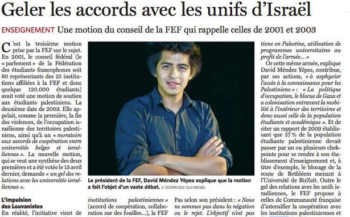 FEF President David Mendez Yepez featured in a report in the newspaper Le Soir following FEF's decision to freeze communications with Israeli universities. (FEF Facebook)