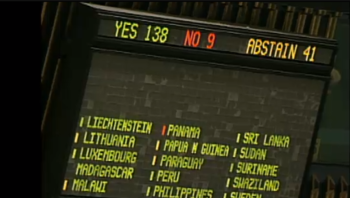 Screen shot of the board at the United Nations General Assembly showing the 138-9 vote officially upgrading Palestine to nonmember observer state, Nov. 29, 2012.  (Fox News)