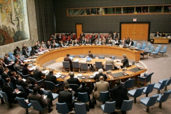 The United Nations Security Council, meeting Dec. 10, 2009, hearing a briefing from the chairman of the committee established pursuant to the 2006 resolution on Iran sanctions.  (U.N. Photo)
