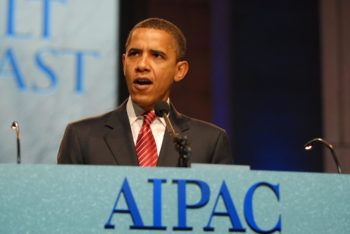 Barack Obama, then a presidential candidate, pledged at the June 2008 AIPAC policy conference to ramp up Iran's isolation. (AIPAC)