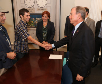 New York Mayor Michael Bloomberg meeting with Gilad Shalit in a ceremony commemorating the sixth anniversary of the ex-Israeli soldier's capture, June 25,  2012.  (Spencer T Tucker)