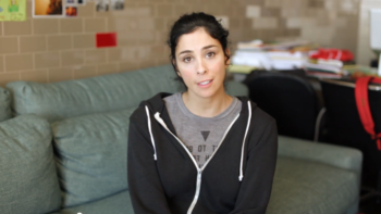 "In her new video, Sarah Silverman is offering to ""scissor"" billionaire Sheldon Adelson if he gives Obama's reelection campaign $100 million instead of Romney's campaign.  (YouTube)"
