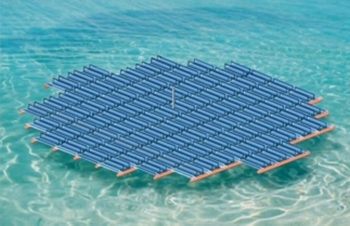 A floating solar energy panel developed by Solaris Synergy.  (Solaris Synergy)