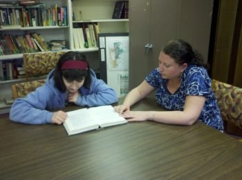 Student Emma Weihrauch with tutor Leanne Pelser at Temple Beth Emunah in Brockton, Mass., The temple offers children with attention deficit hyperactivity disorder special programs to help them study for their bar/bat mitzvah ceremony. (Temple Beth Emunah)
