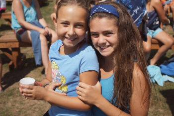 Two campers share a hug at Camp Morasha, a Jewish camp in upstate New York.<br />  (Foundation for Jewish Camp)