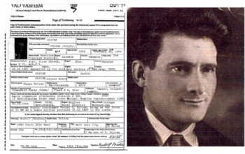 This form, filled out by Rudolf Priven in memory of his father, Velvel, shown here, proved pivotal to a family reunification.  (Courtesy Yad Vashem)