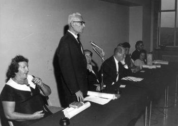 Wladyslaw Kowalski, a Pole who rescued Jews during the Holocaust, spoke at a 1967 ceremony for those designated Righteous Among the Nations who were living in Israel. (Yad Vashem)