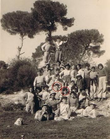 Zvi Weiss and Ahuva Maoz (née Kadouri), circled in red, during a tour of the north of Israel with their Youth Aliyah group in the mid-1950s. (Courtesy Ahuva Maoz)