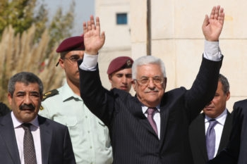 Palestinian Authority President Mahmoud Abbas welcomes hundreds of Palestinians released as part of the prisoner swap for Gilad Shalit in the West Bank city of Ramallah on Oct. 18.  (Yossi Zamir / FLASH90)