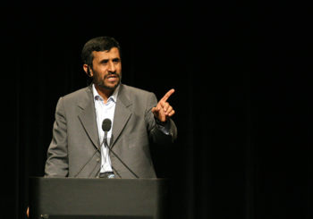 ranian President Mahmoud Ahmadinejad, seen here addressing Columbia University in September 2007, has his citizens' support when it comes to Iran's nuclear program, analysts say.  (Daniella Zalcman)