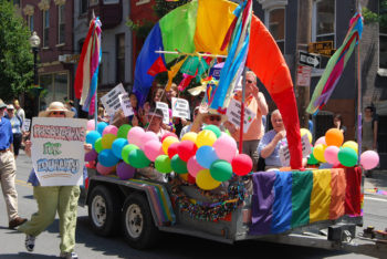 While some religious groups, like the Presbyterians seen here at Albany's 2009 gay pride parade, support same-sex marriage, organizations like the Orthodox Union have launched robust campaigns against same-sex marriage. ((Tim Schapker via CC))