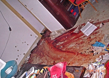 Blood stains the floor of the Chabad center in Mumbai following a failed rescue operation by Indian commandos on Nov. 28, 2008. Among those killed in the terror attack there were the center's directors, Rabbi Gavriel Holtzberg and his wife, Rivkah. (ZAKA / BPH Images)