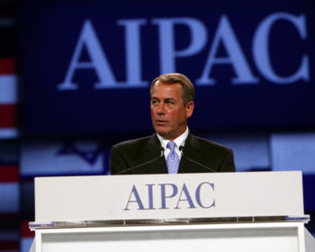 House Speaker John Boehner (R-Ohio) was among the congressional leaders to take the stage at the 2011 AIPAC Policy Conference. (AIPAC)