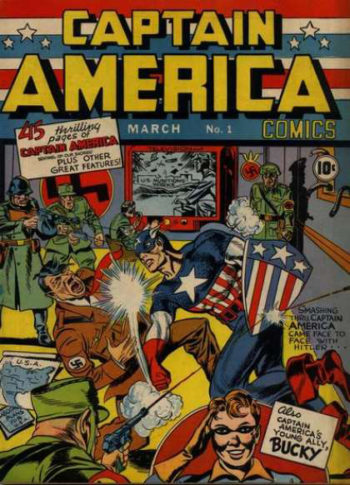 Nearly a year before the United States entered World War II, comic book legends Joe Simon and Jack Kirby's Captain America #1 featured the patriotic hero punching Adolf Hitler. (Marvel Comics)