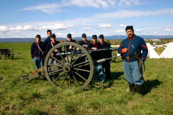 Jeffrey Cohen, far right, with fellow members of the 6th New York Independent Battery Civil War reenactors. (Robert Fagan)