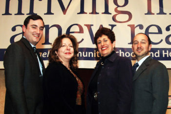 Organizers of the North American Jewish Day School Conference, from left to right, Scott Goldberg, Jane West Walsh, Elaine Cohen and Marc Kramer.  (Robert A. Cumins)