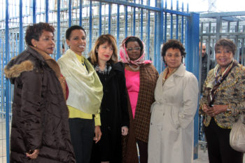 From left, Reps. Yvette Clark, Donna Edwards, Jackie Speier, Gwen Moore, Barbara Lee and Eddie Bernice Johnson at the Kalandiya checkpoint on a J Street-organized trip to Israel and the West Bank, Feb. 22, 2012. (J Street)