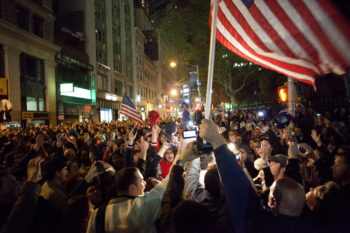New Yorkers gather near Ground Zero to celebrate the news that Osama bin Laden was killed, May 1, 2011. (Richard via Creative Commons)