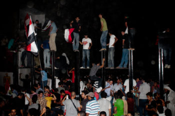 Egyptian demonstrators attacking Israel's embassy in Cairo, Sept. 9, 2011.  (Maggie Osama/Creative Commons)